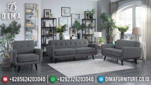 Sofa Tamu Minimalis Terbaru Ash Grey Fabric Color Excellent Style Classic MM-0891