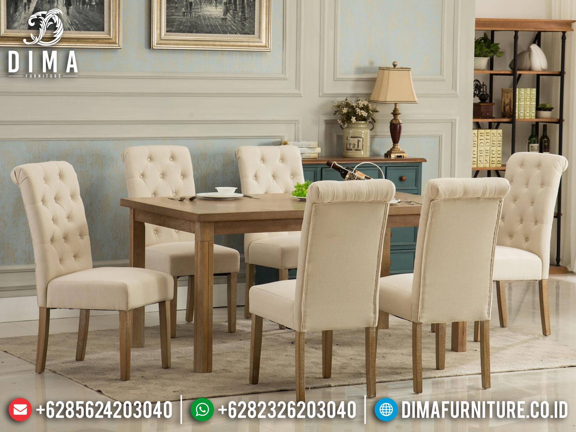 Book Now Meja Makan Minimalis Terbaru Natural Jati Classic Perhutani Mm-1067
