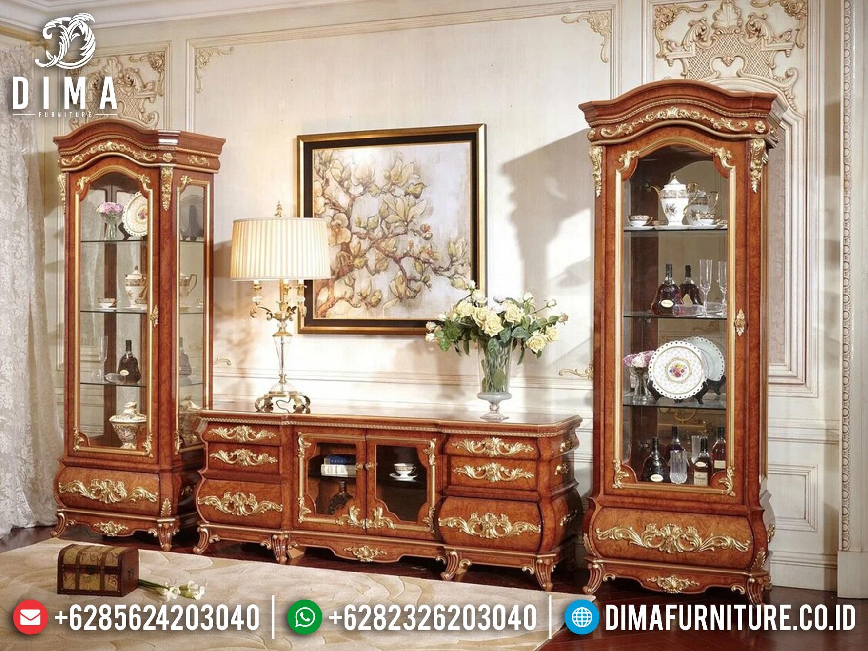 Desain Bufet TV Mewah Terbaru Natural Jati Perhutani Luxury Carving Jepara MM-1098