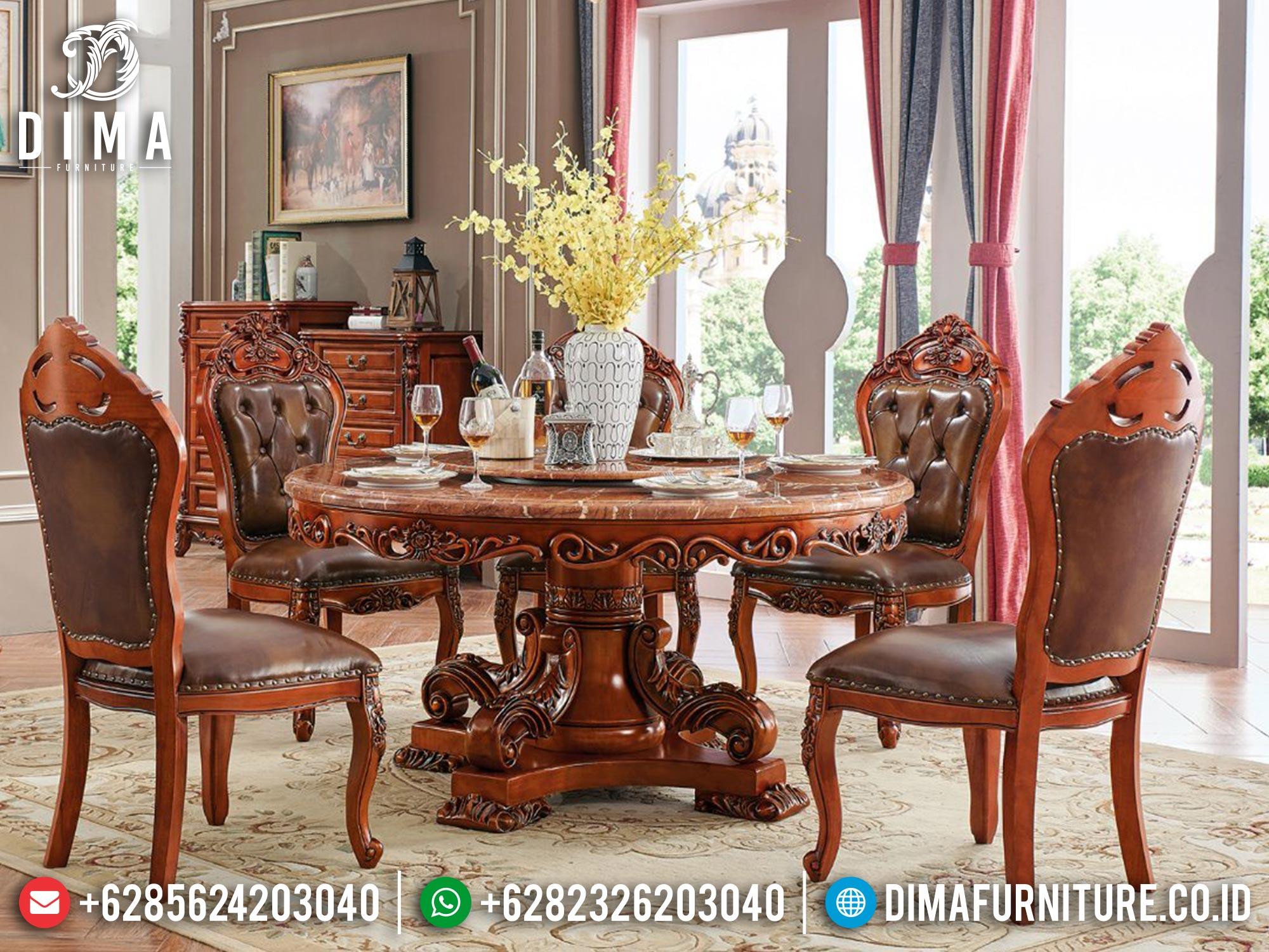 Harga Meja Makan Mewah Jati Natural Perhutani Luxury Design Furniture Jepara 100% Asli Mm-1033