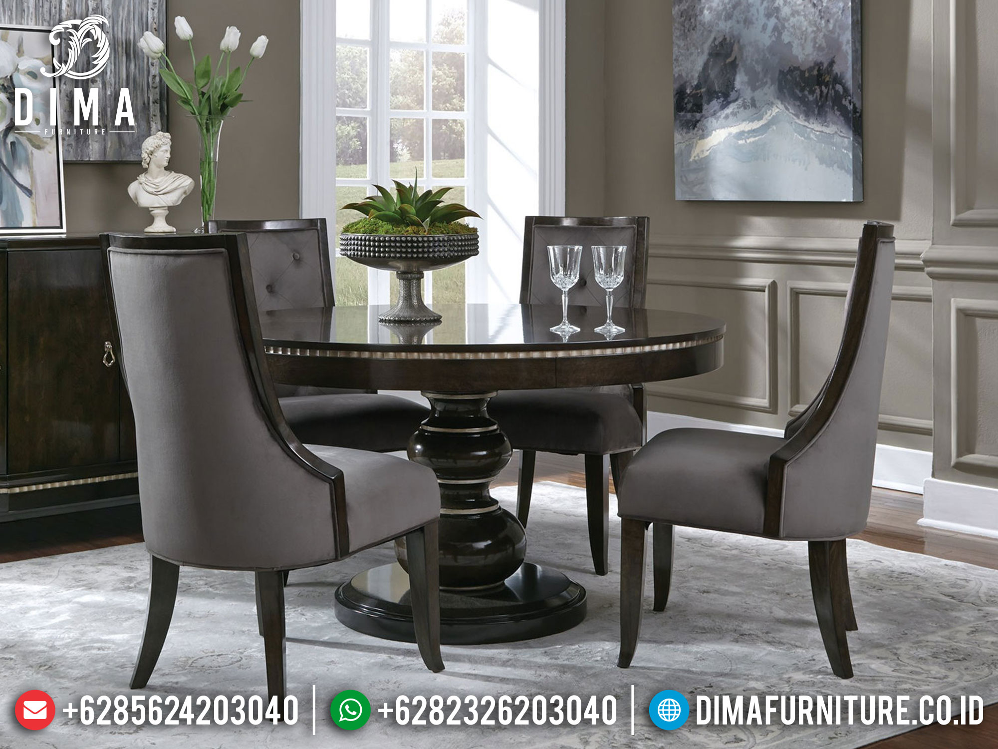 Harga Meja Makan Minimalis Bundar Jepara Luxury Furniture Classic Mm-1042