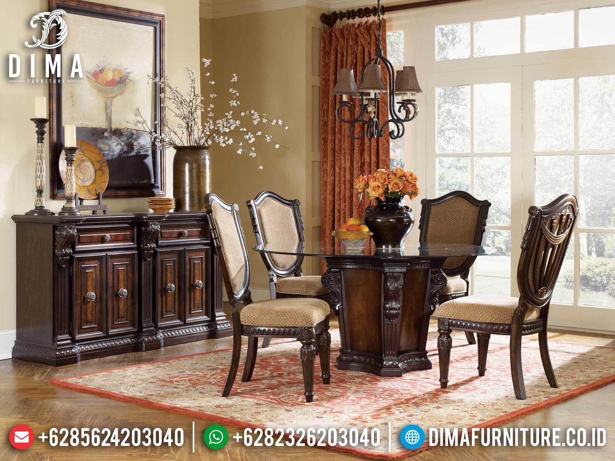 Jual Meja Makan Klasik Jati Natural Salak Brown Luxury Carving Jepara Mm-1052