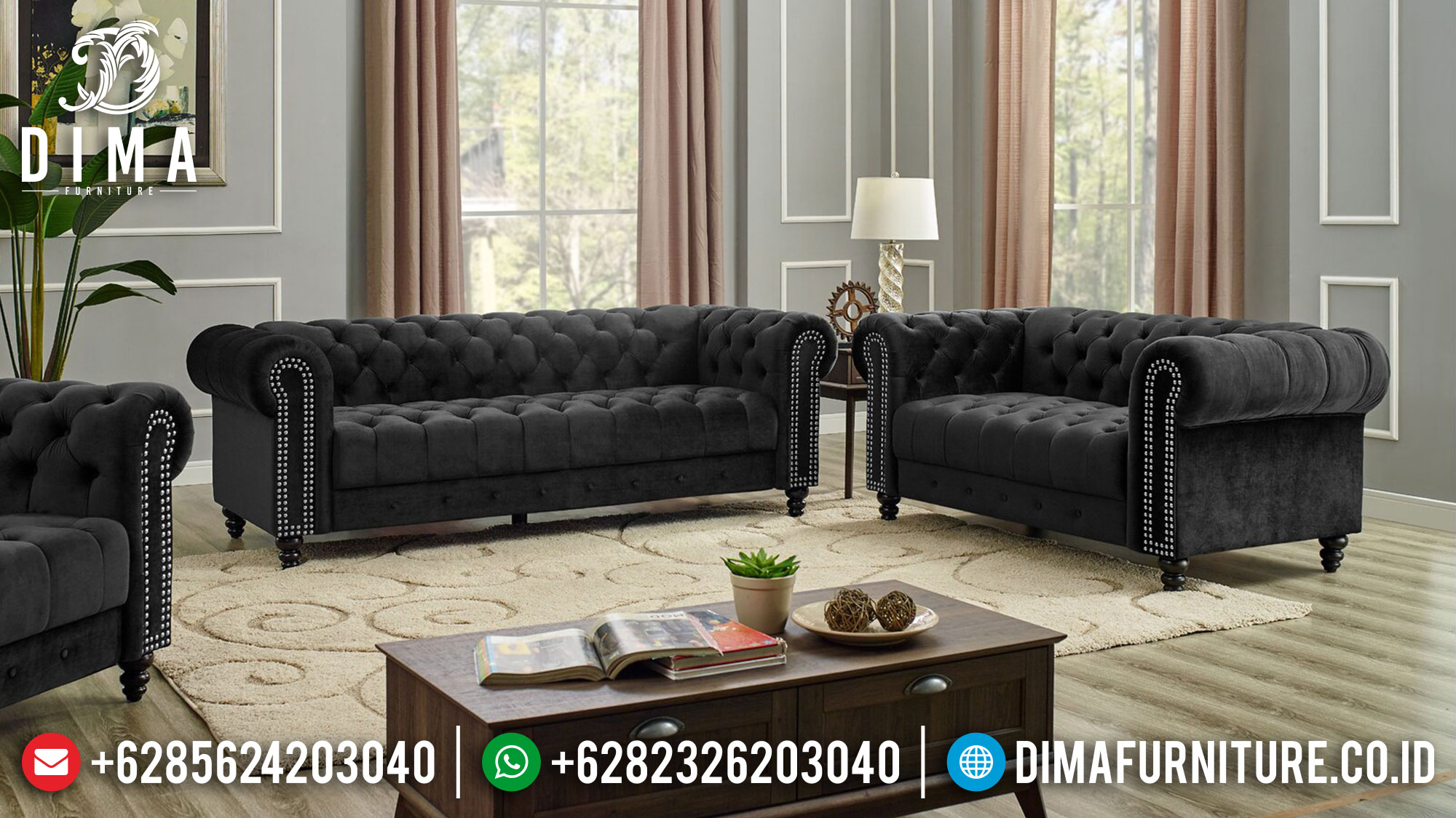 Jual Sofa Tamu Minimalis Jepara 3 2 1 + Meja New Chesterfield Design Elegant MM-1089