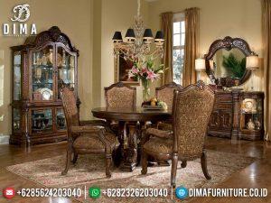 Meja Makan Mewah Bundar Jati Natural Perhutani Luxury Furniture Jepara Terbaru!!! MM-1034
