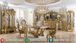 Meja Makan Mewah Terbaru Luxury Design 100% Great Solid Wood Perhutani MM-1028