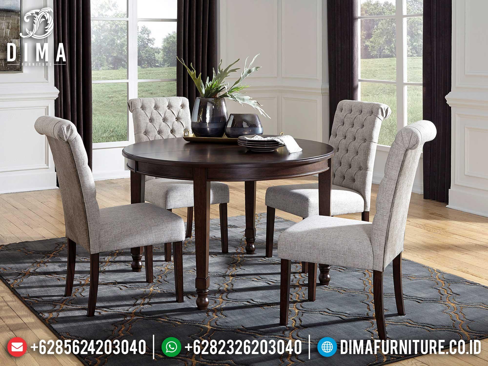 Meja Makan Minimalis Bundar Luxury Natural Salak Color Furniture Jepara Terbaru Mm-1037
