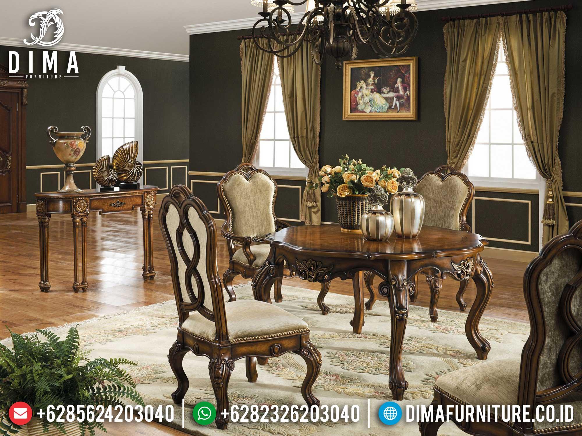 Meja Makan Minimalis Jati Klasik Natural Luxury Furniture Jepara Mm-1051
