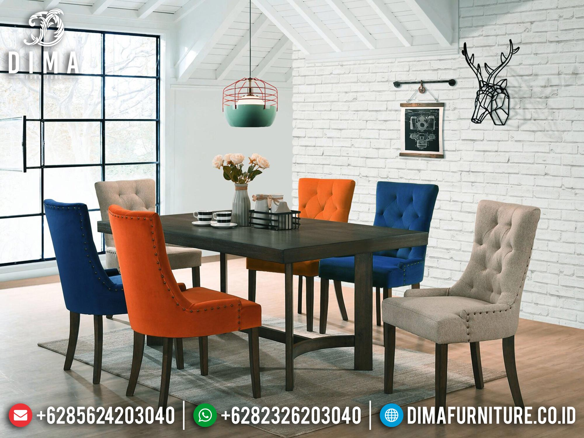 Meja Makan Minimalis Kursi 6 New Design Ridiculous Furniture Jepara MM-1066