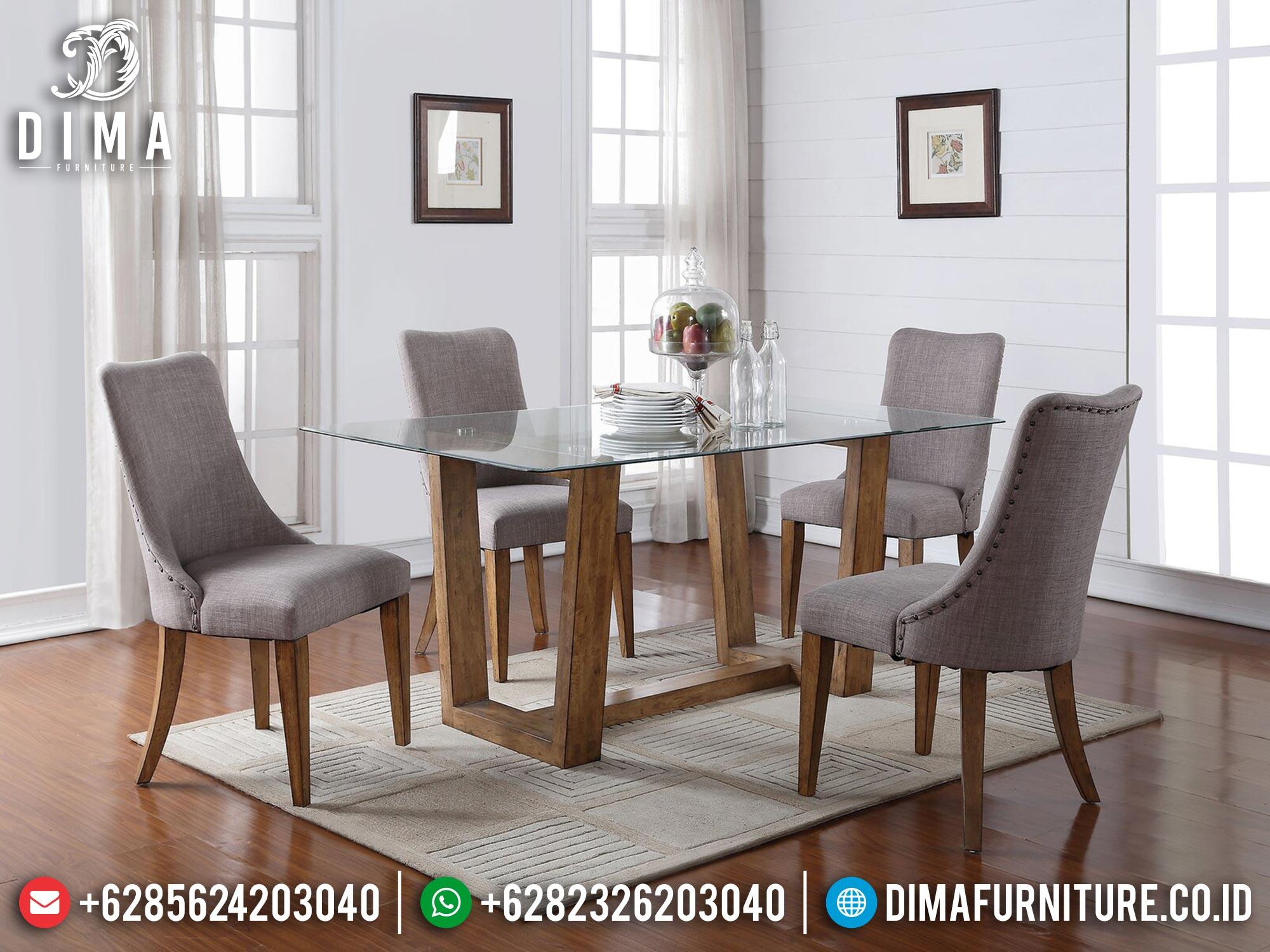 Meja Makan Minimalis Top Kaca Simple Natural Color New Furniture Jepara MM-1068