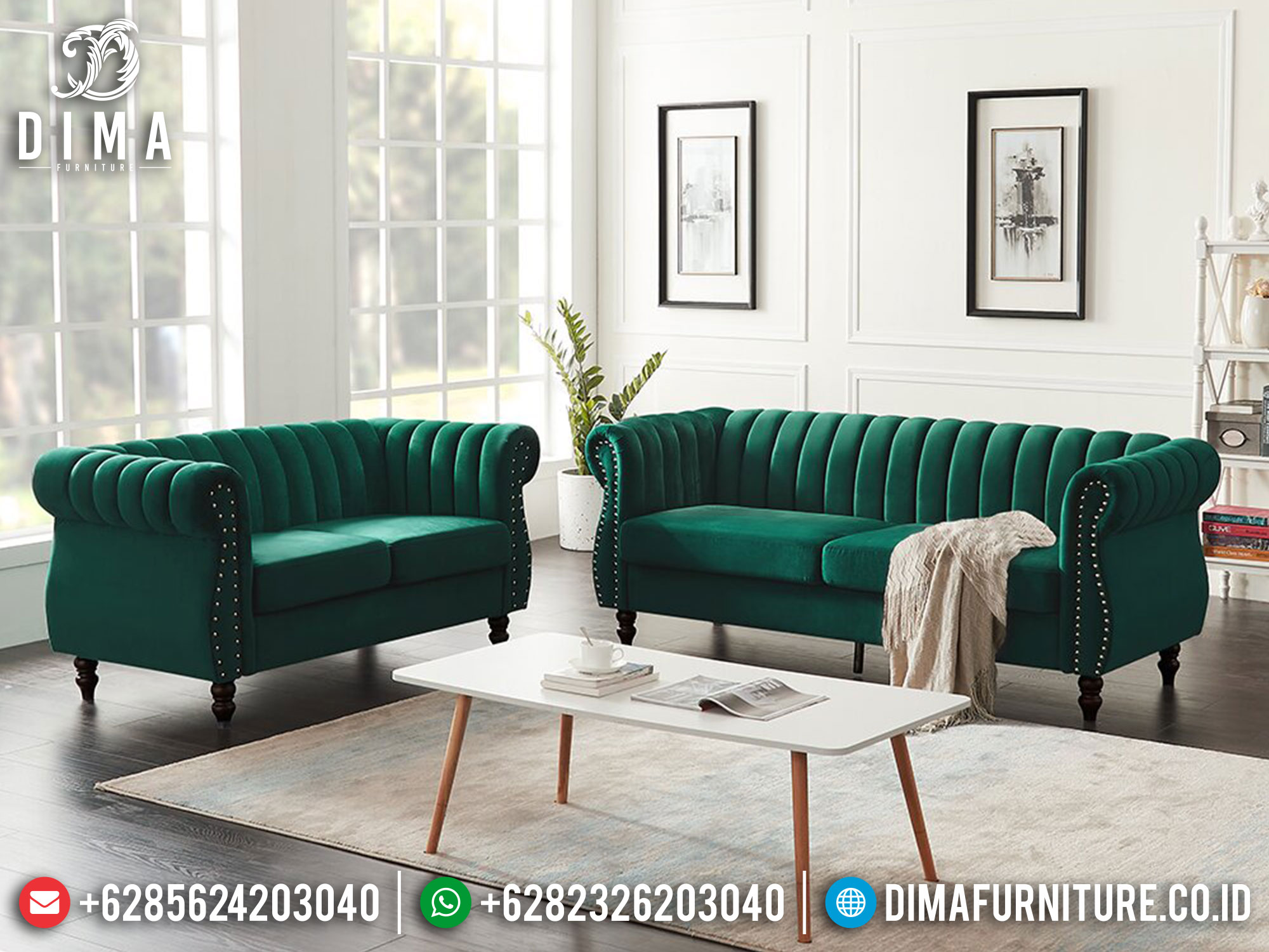 Promo Ramadan Sofa Tamu Minimalis Jati Natural Classic Color New Furniture Jepara Mm-1084