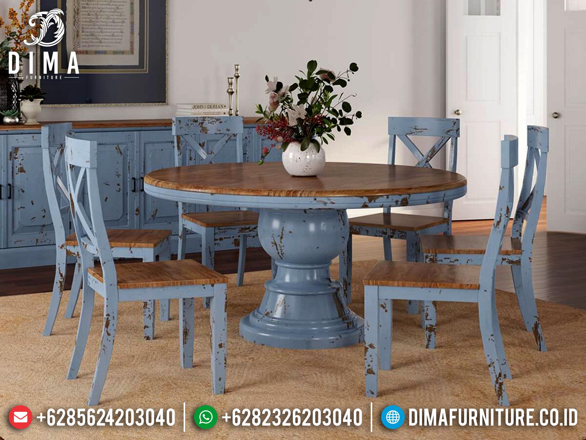 Set Meja Makan Minimalis Bundar Classic Rustic Design French Style Mm-1048