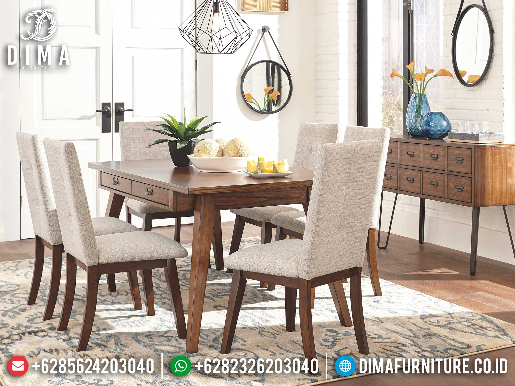 Set Meja Makan Minimalis Jati Klasik Natural Retro Style Great Solid Wood Mm-1075