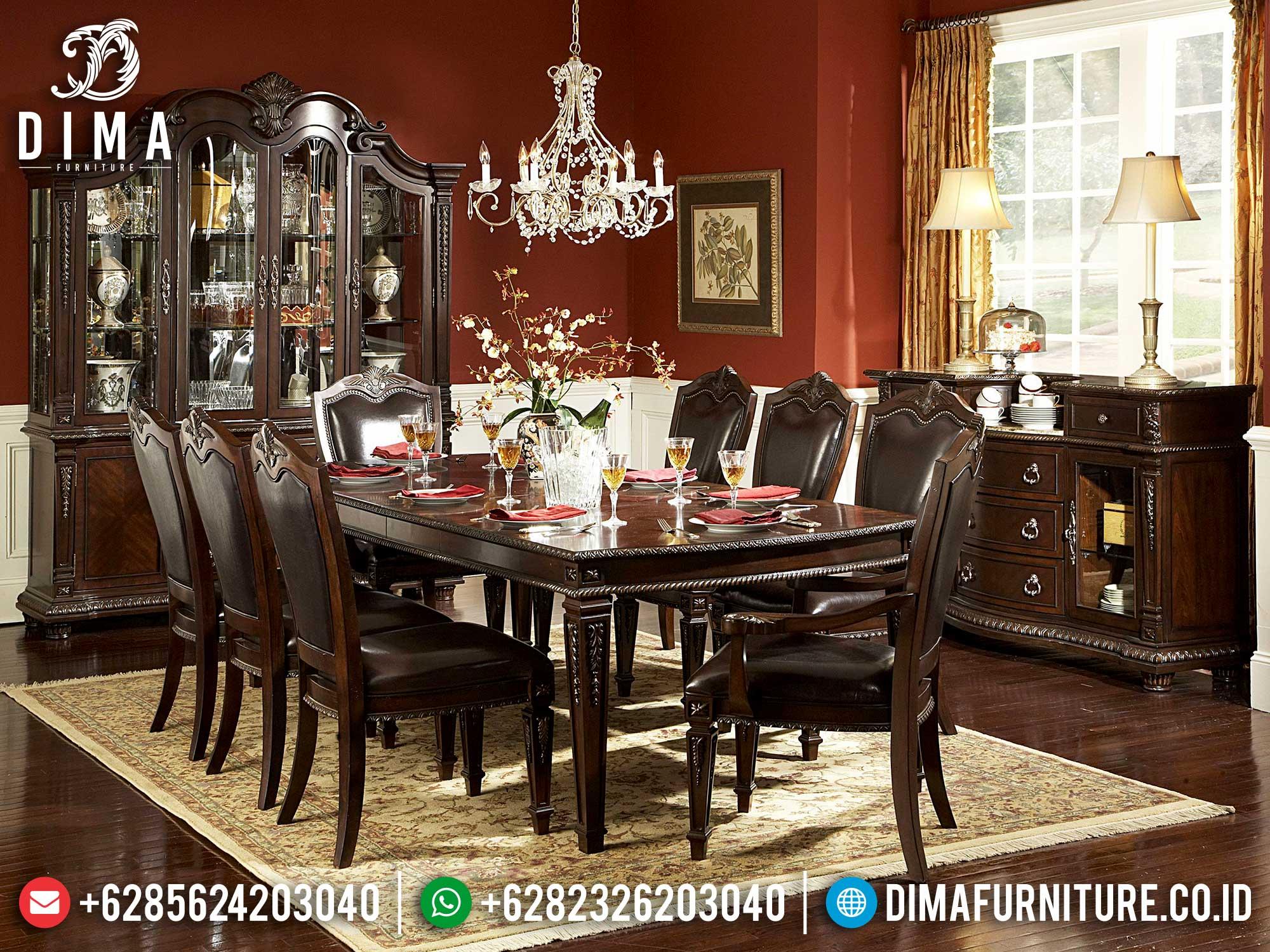 Simple Set Meja Makan Klasik Jati Natural Salak Brown Luxury Color Mm-1032