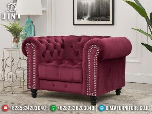 Sofa Single Seater Minimalis Chester Luxury Fabric Color New Furniture Jepara MM-1095