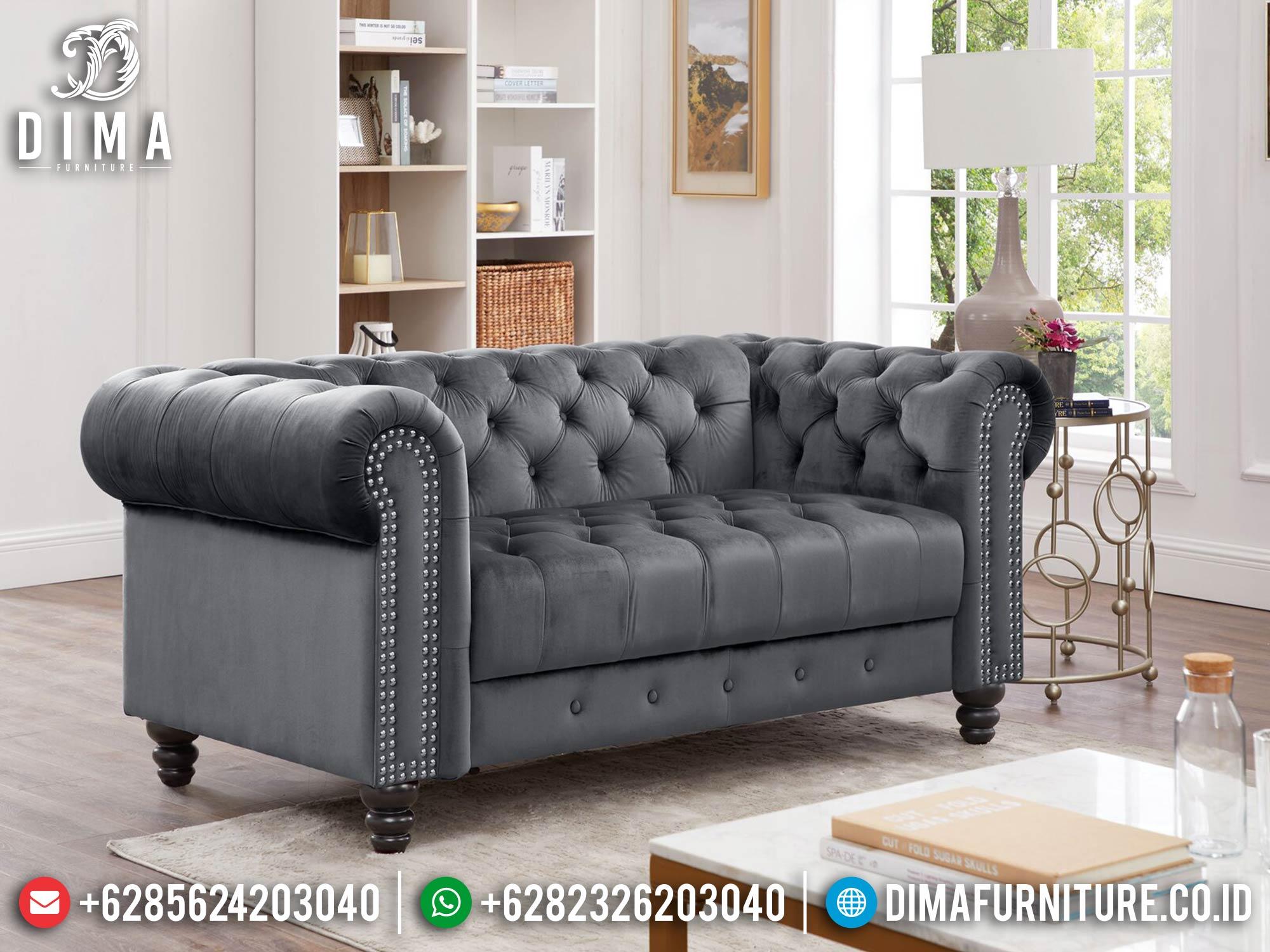 Sofa Tamu Minimalis 2 Seater Luxury Beludru Fabric Grey Color Softly MM-1092