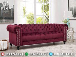 Sofa Tamu Minimalis 3 Dudukan Chesterfield Desain Luxury Red Fabric Excellent MM-1093