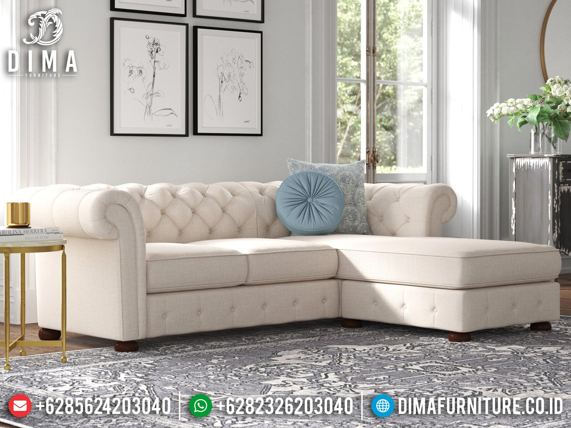 Sofa Tamu Sudut Minimalis Jepara Elegant White Fabric Color Luxury Jepara MM-1096