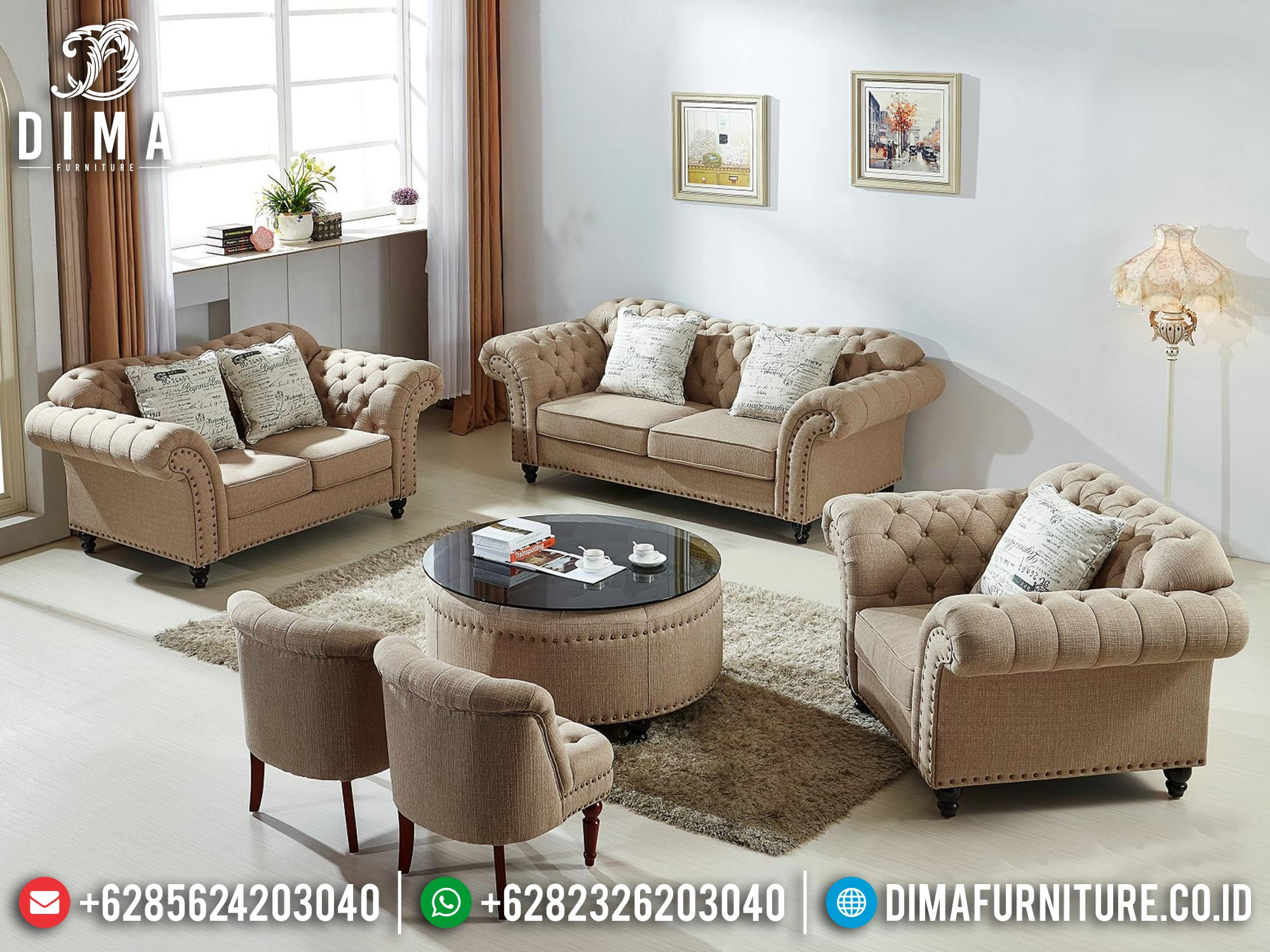 Terbaru!!! Set Sofa Tamu Minimalis Jepara Elegant Fabric Beludru Color Furniture Jepara MM-1094