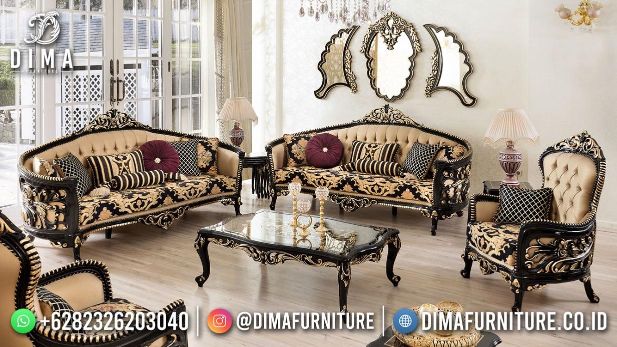 Gangerous Black Desain Sofa Tamu Mewah Perfect Carving Mm-1103