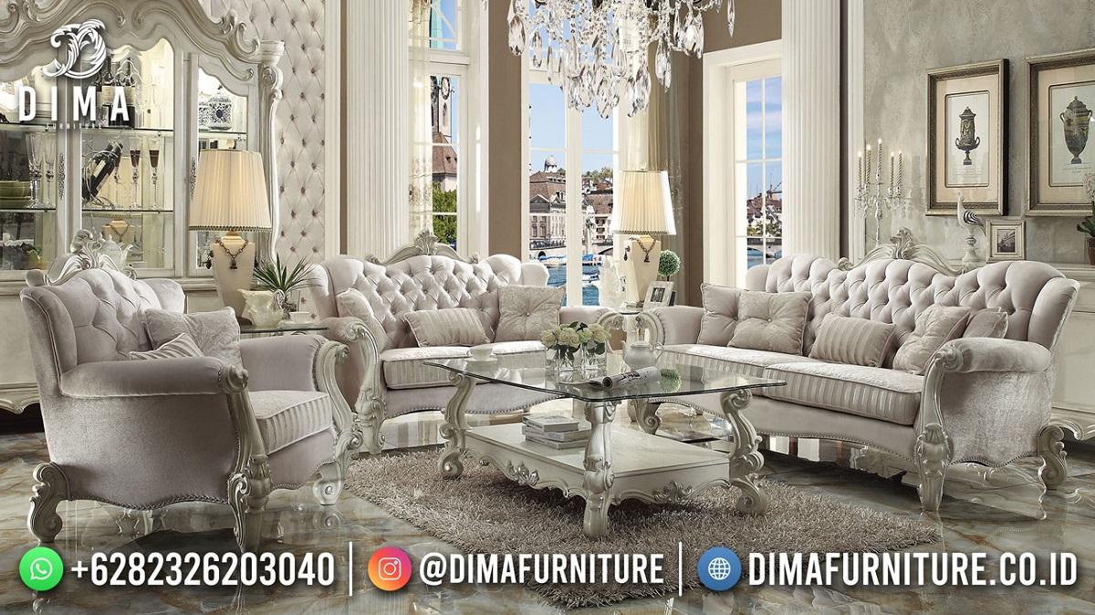 Sofa Tamu Mewah Jepara Terbaru Duco White Excelent Mm-1108