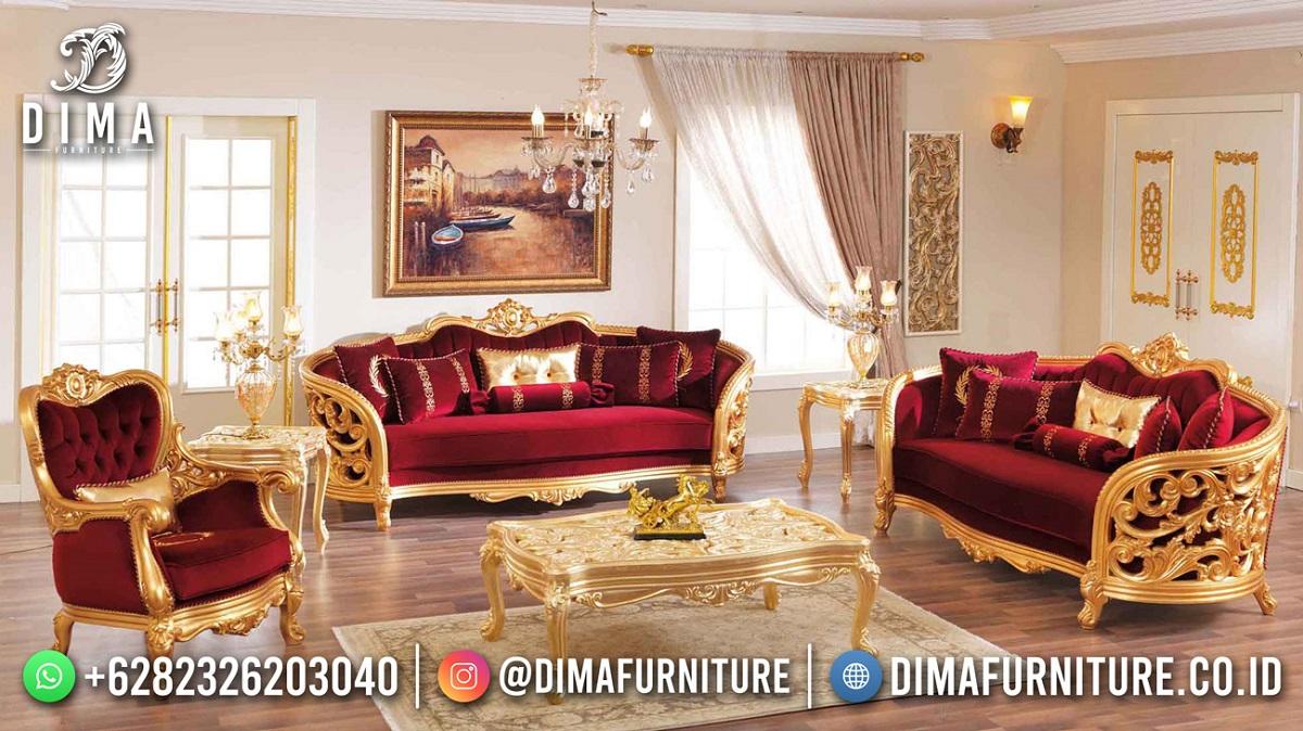 Terbaru Sofa Tamu Mewah Ukiran Jepara Cat Warna Emas Terbaik Mm-1130