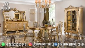 Classic Set Meja Makan Mewah Luxury Golden Stone Color High Quality Product MM-1183