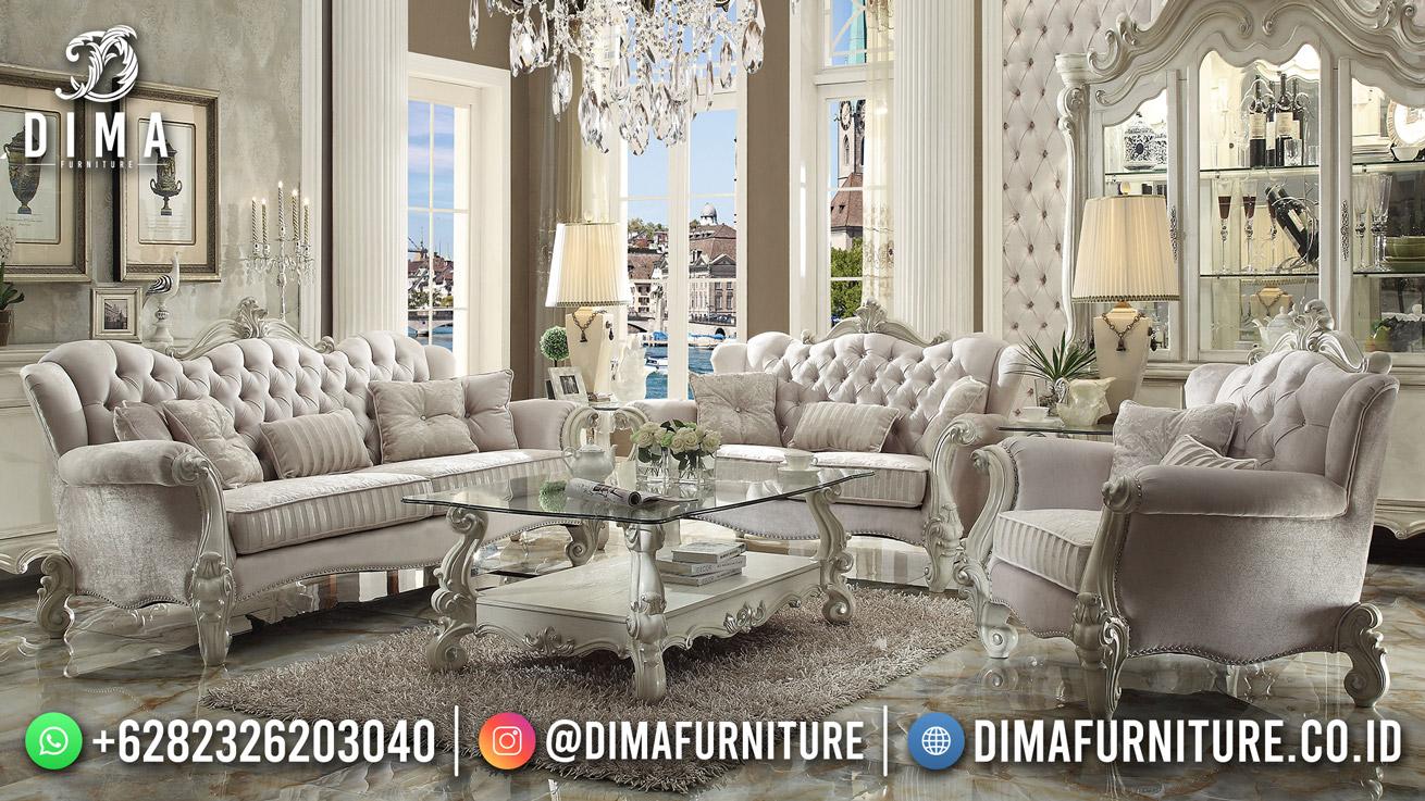 Elegant Model Kursi Tamu Mewah Luxury White Duco New Carving Style Mm-1176