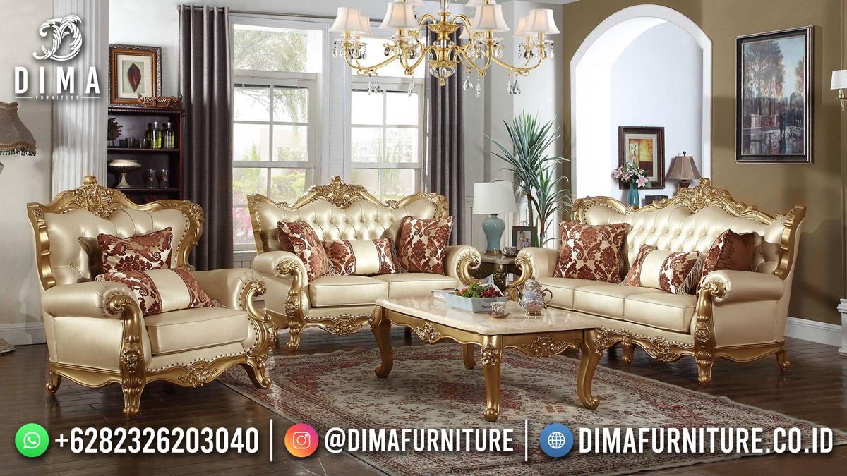 Kursi Tamu Mewah Terbaru Classy Design Golden Glossy Color Furniture Mm-1177